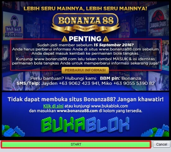 Screenshot permainan bola tangkas desktop Bonanza88 1 update